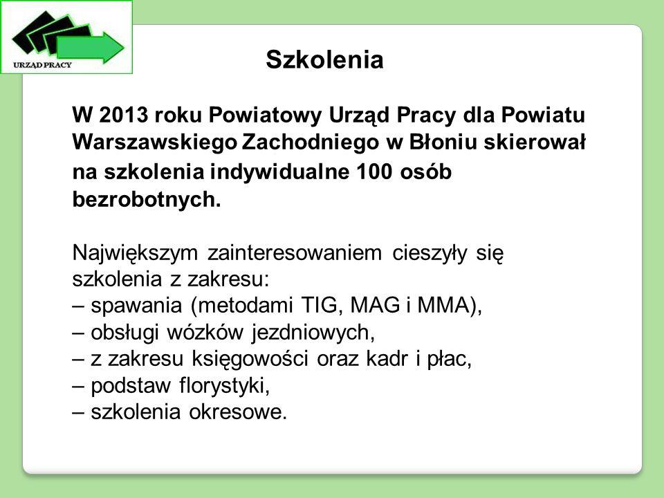 W 2013 roku Powiatowy Urząd Pracy dla Powiatu Warszawskiego Zachodniego w Błoniu skierował na szkolenia indywidualne 100 osób bezrobotnych.