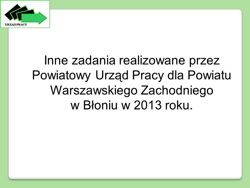 Inne zadania realizowane przez Powiatowy Urząd Pracy dla Powiatu Warszawskiego Zachodniego w Błoniu w 2013 roku.