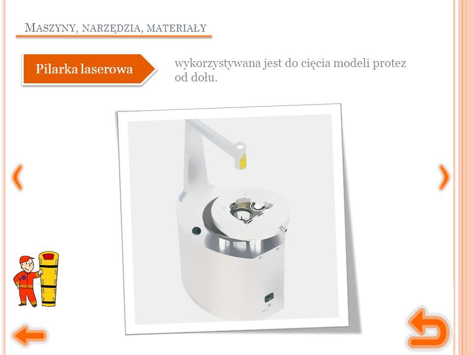 M ASZYNY, NARZĘDZIA, MATERIAŁY wykorzystywana jest do cięcia modeli protez od dołu.