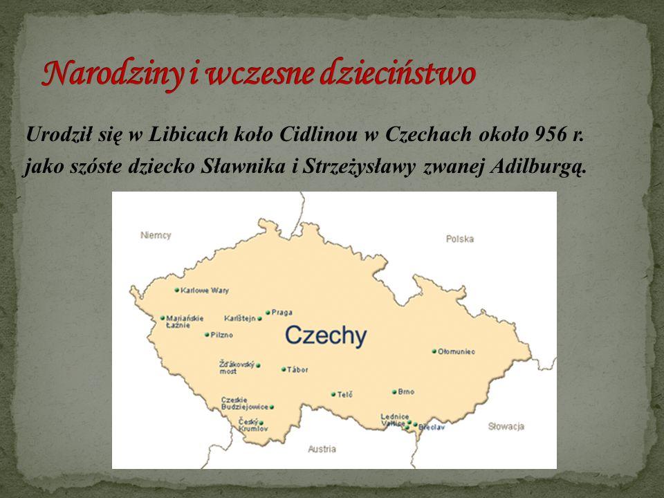 Urodził się w Libicach koło Cidlinou w Czechach około 956 r. jako szóste dziecko Sławnika i Strzeżysławy zwanej Adilburgą.