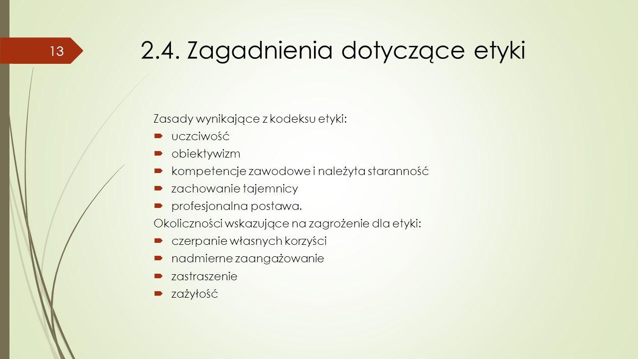 2.4. Zagadnienia dotyczące etyki Zasady wynikające z kodeksu etyki:  uczciwość  obiektywizm  kompetencje zawodowe i należyta staranność  zachowani