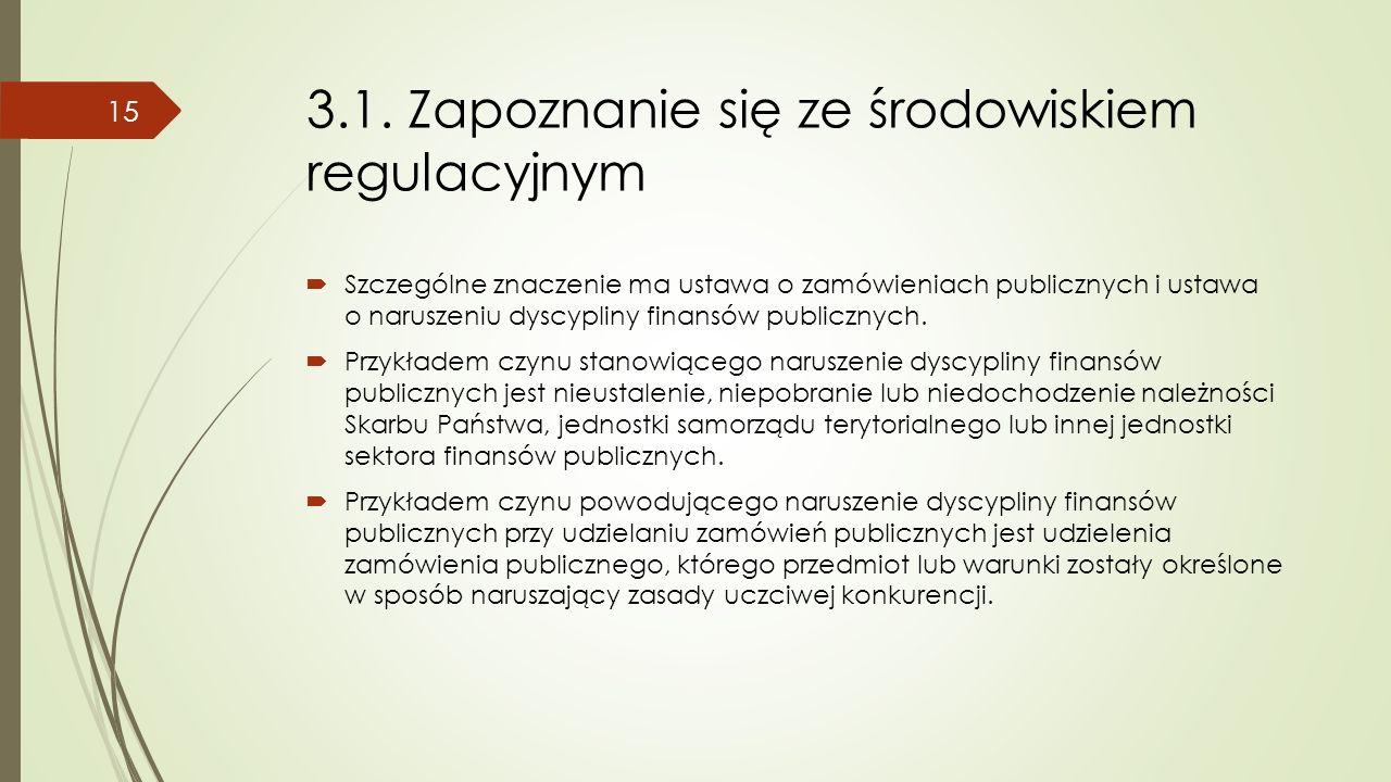 3.1. Zapoznanie się ze środowiskiem regulacyjnym  Szczególne znaczenie ma ustawa o zamówieniach publicznych i ustawa o naruszeniu dyscypliny finansów
