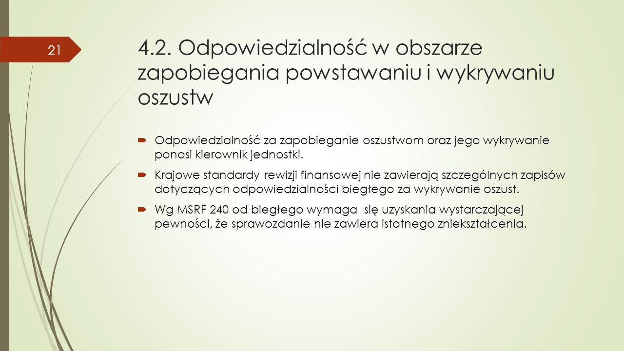 4.2. Odpowiedzialność w obszarze zapobiegania powstawaniu i wykrywaniu oszustw  Odpowiedzialność za zapobieganie oszustwom oraz jego wykrywanie ponos