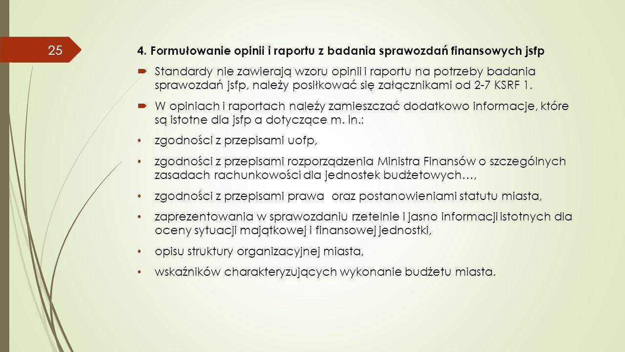 4. Formułowanie opinii i raportu z badania sprawozdań finansowych jsfp  Standardy nie zawierają wzoru opinii i raportu na potrzeby badania sprawozdań