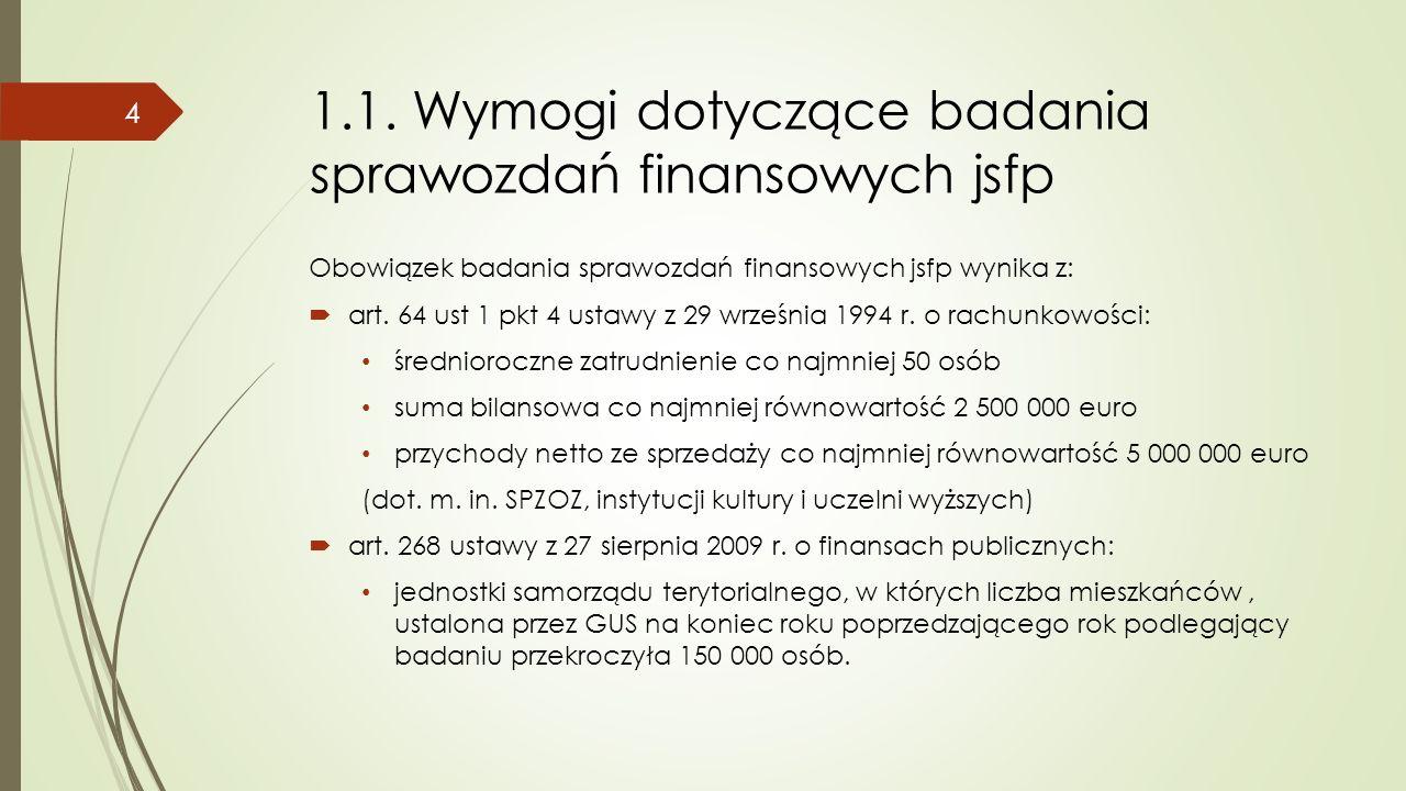 1.1. Wymogi dotyczące badania sprawozdań finansowych jsfp Obowiązek badania sprawozdań finansowych jsfp wynika z:  art. 64 ust 1 pkt 4 ustawy z 29 wr