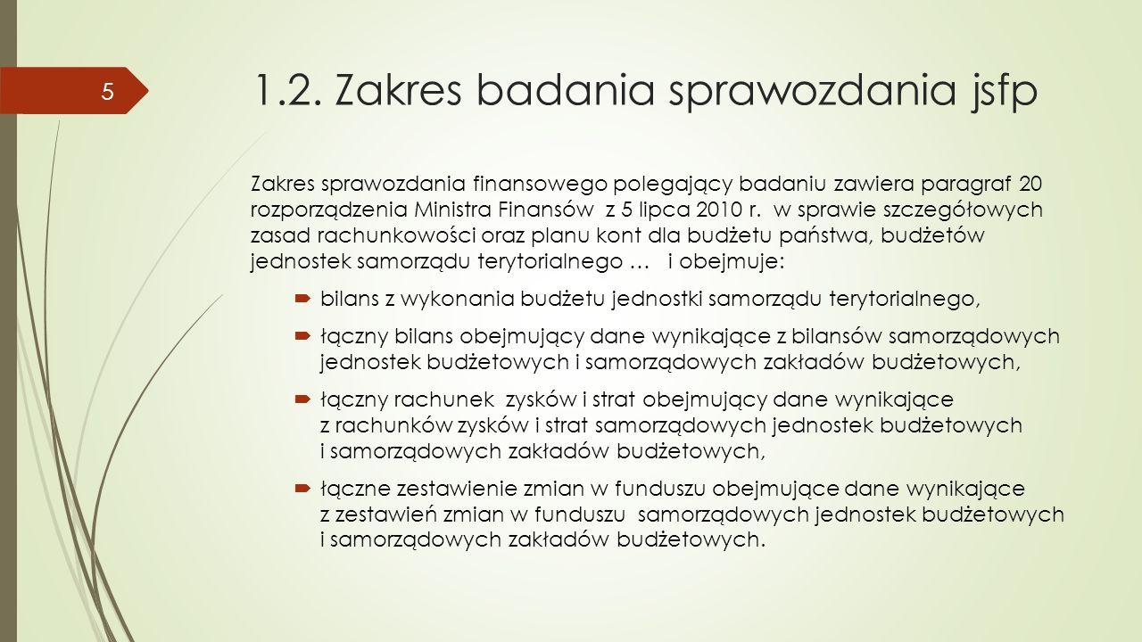 1.2. Zakres badania sprawozdania jsfp Zakres sprawozdania finansowego polegający badaniu zawiera paragraf 20 rozporządzenia Ministra Finansów z 5 lipc