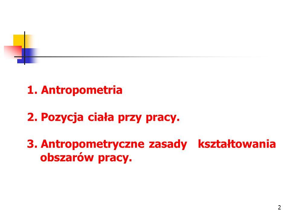 2 1. Antropometria 2. Pozycja ciała przy pracy. 3.