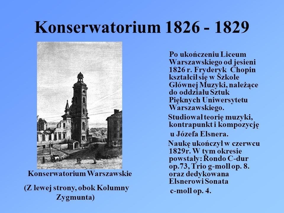 Konserwatorium 1826 - 1829 Po ukończeniu Liceum Warszawskiego od jesieni 1826 r. Fryderyk Chopin kształcił się w Szkole Głównej Muzyki, należące do od