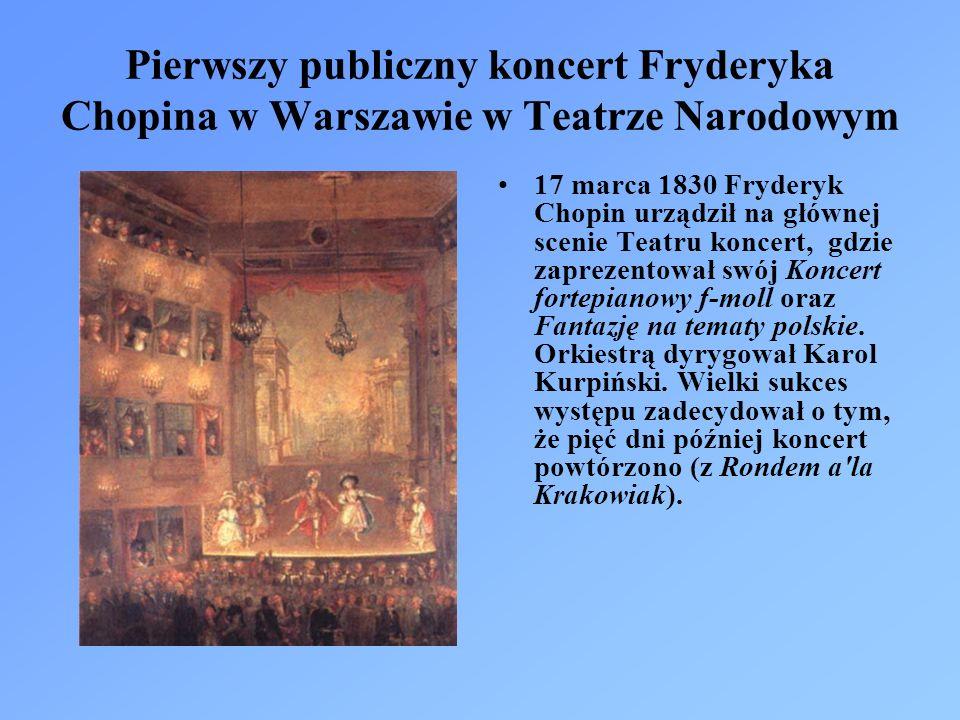 Pierwszy publiczny koncert Fryderyka Chopina w Warszawie w Teatrze Narodowym 17 marca 1830 Fryderyk Chopin urządził na głównej scenie Teatru koncert, gdzie zaprezentował swój Koncert fortepianowy f-moll oraz Fantazję na tematy polskie.