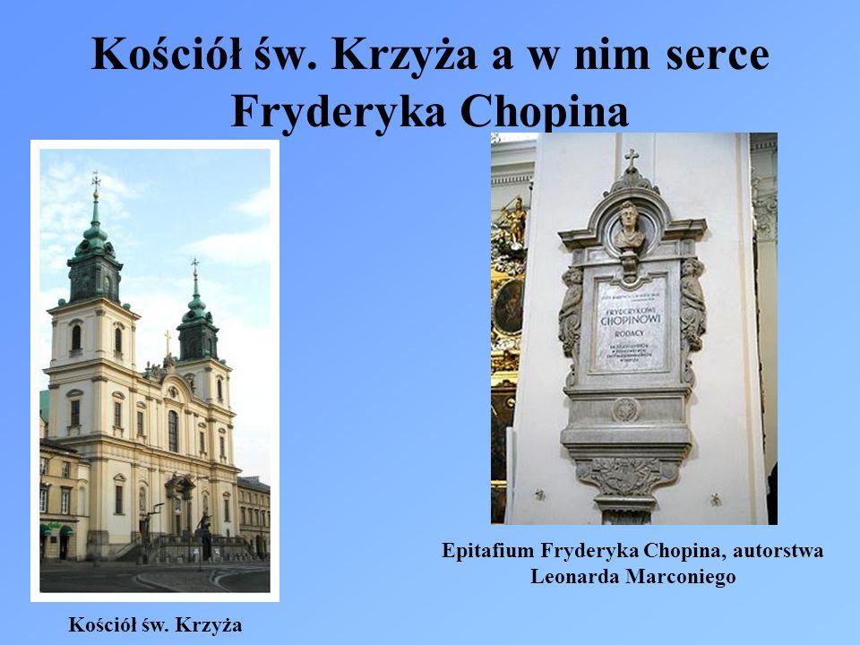 Kościół św. Krzyża a w nim serce Fryderyka Chopina Epitafium Fryderyka Chopina, autorstwa Leonarda Marconiego Kościół św. Krzyża
