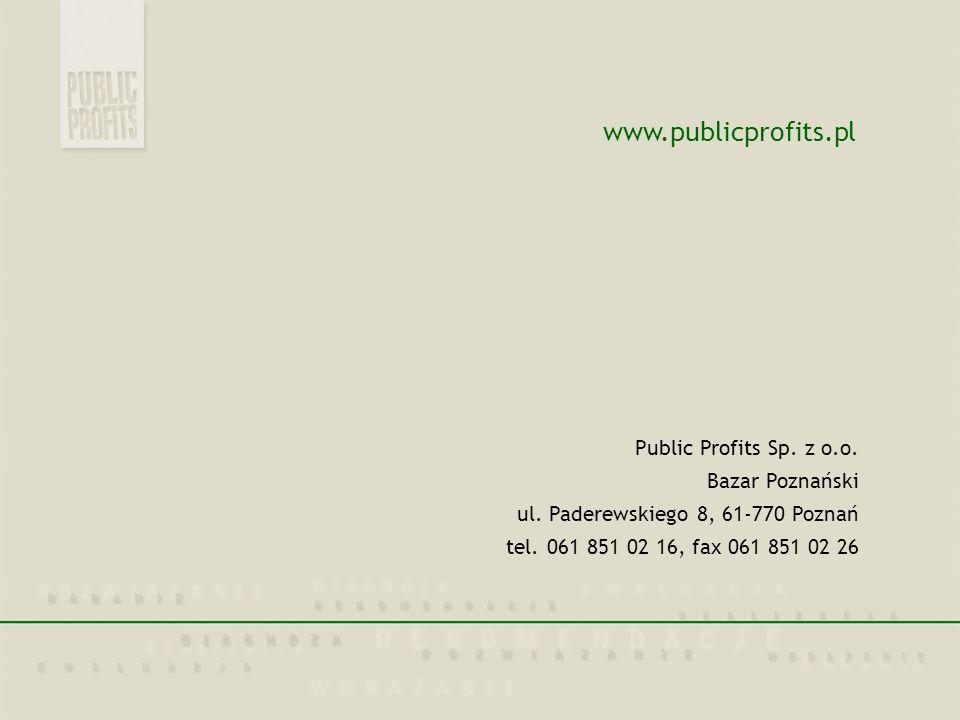 www.publicprofits.pl Public Profits Sp. z o.o. Bazar Poznański ul. Paderewskiego 8, 61-770 Poznań tel. 061 851 02 16, fax 061 851 02 26