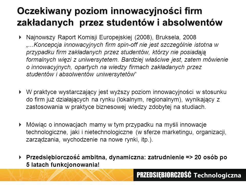 """Oczekiwany poziom innowacyjności firm zakładanych przez studentów i absolwentów  Najnowszy Raport Komisji Europejskiej (2008), Bruksela, 2008 """"...Kon"""