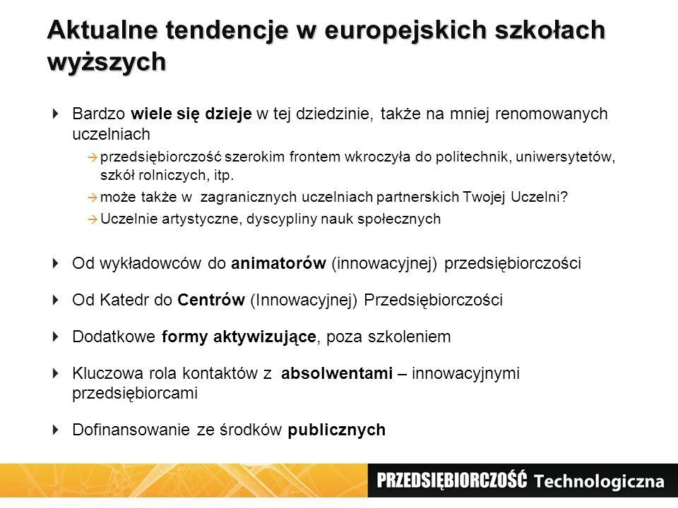 Aktualne tendencje w europejskich szkołach wyższych  Bardzo wiele się dzieje w tej dziedzinie, także na mniej renomowanych uczelniach  przedsiębiorc