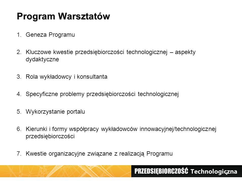 2 Program Warsztatów 1.Geneza Programu 2.Kluczowe kwestie przedsiębiorczości technologicznej – aspekty dydaktyczne 3.Rola wykładowcy i konsultanta 4.S