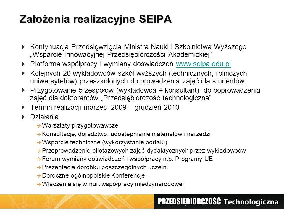 """Założenia realizacyjne SEIPA  Kontynuacja Przedsięwzięcia Ministra Nauki i Szkolnictwa Wyższego """"Wsparcie Innowacyjnej Przedsiębiorczości Akademickie"""