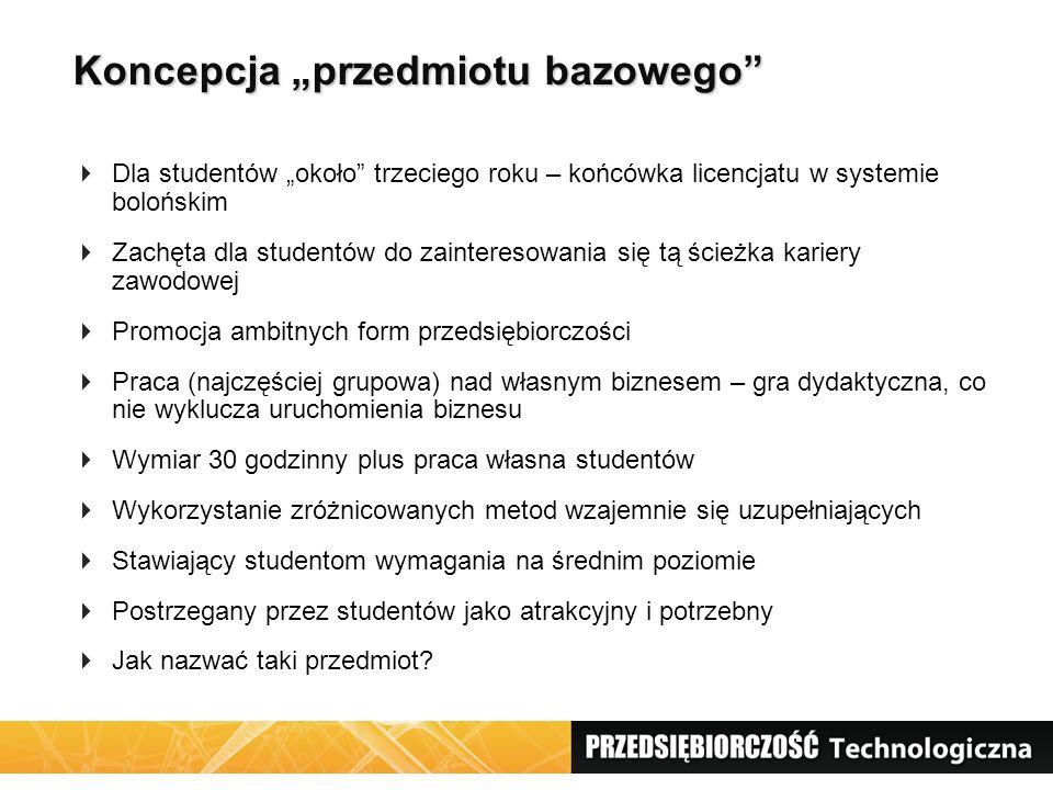"""Koncepcja """"przedmiotu bazowego""""  Dla studentów """"około"""" trzeciego roku – końcówka licencjatu w systemie bolońskim  Zachęta dla studentów do zainteres"""