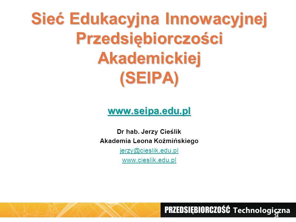 34 Sieć Edukacyjna Innowacyjnej Przedsiębiorczości Akademickiej (SEIPA) www.seipa.edu.pl Dr hab. Jerzy Cieślik Akademia Leona Koźmińskiego jerzy@ciesl