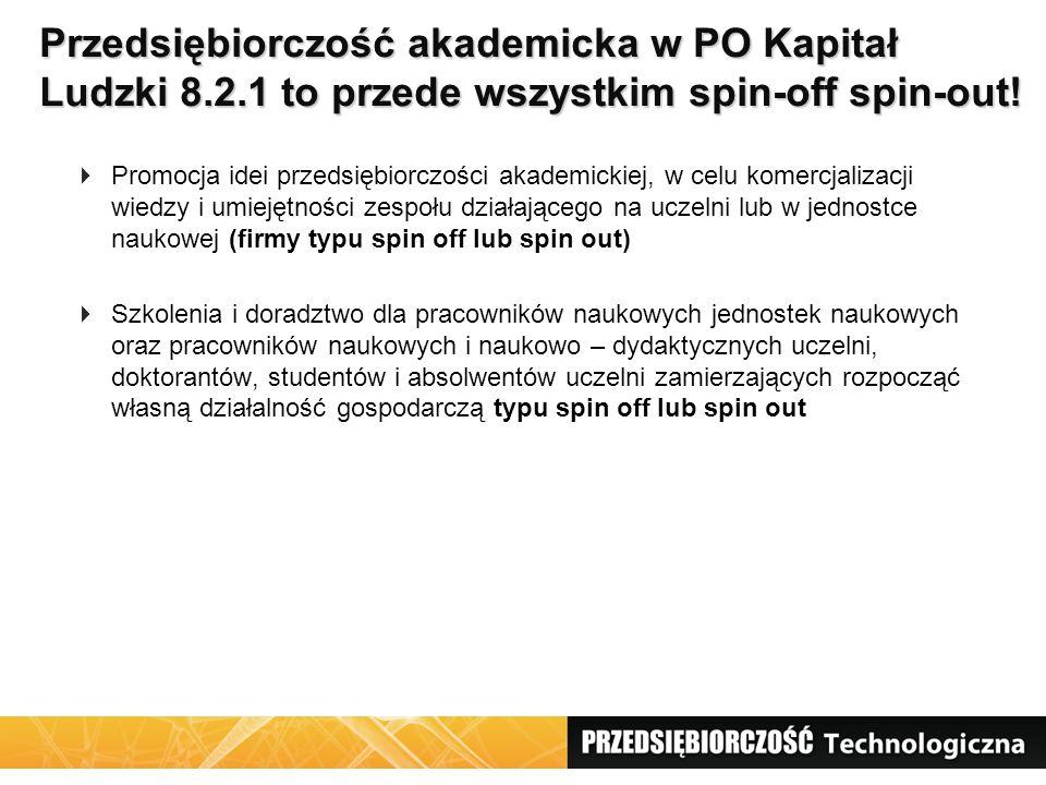 Akademickie firmy odpryskowe spin-off / spin- out - definicje Dokumenty PO Kapitał LudzkiSłownik pojęć (PARP) 2008 Nowe przedsiębiorstwo, które zostało założone przez co najmniej jednego pracownika instytucji naukowej albo studenta bądź absolwenta w celu komercjalizacji innowacyjnych pomysłów (wiedzy) lub technologii.