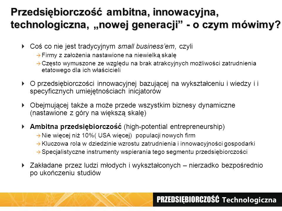 """Przedsiębiorczość ambitna, innowacyjna, technologiczna, """"nowej generacji"""" - o czym mówimy?  Coś co nie jest tradycyjnym small business'em, czyli  Fi"""