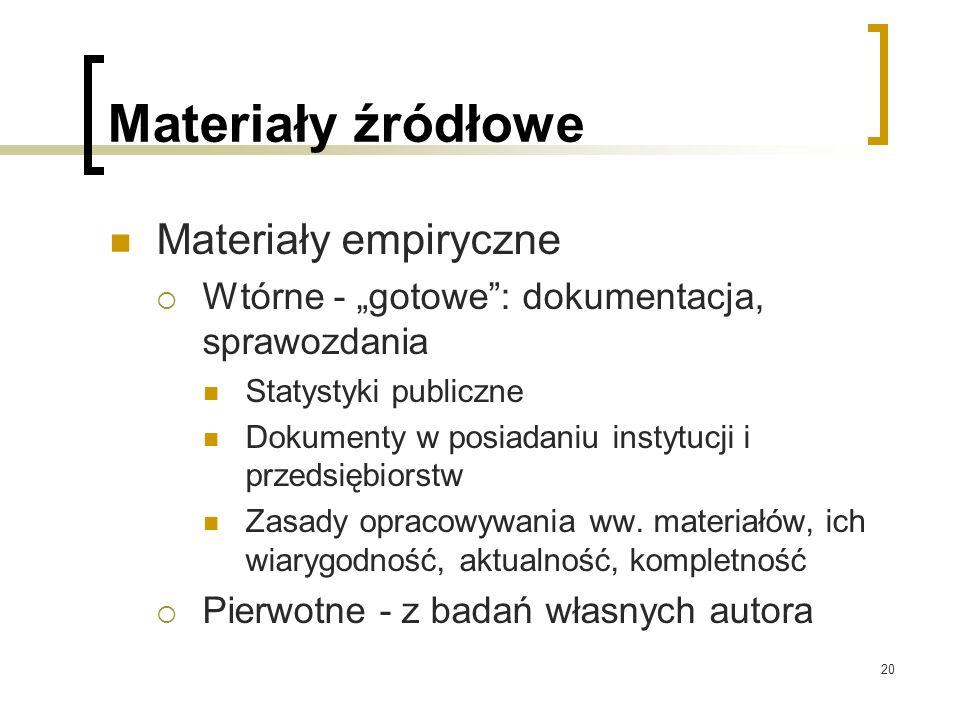 """20 Materiały źródłowe Materiały empiryczne  Wtórne - """"gotowe : dokumentacja, sprawozdania Statystyki publiczne Dokumenty w posiadaniu instytucji i przedsiębiorstw Zasady opracowywania ww."""