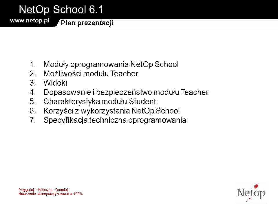 NetOp School 6.1 Przygotuj – Nauczaj – Oceniaj Nauczanie skomputeryzowane w 100% Plan prezentacji 1.Moduły oprogramowania NetOp School 2.Możliwości mo