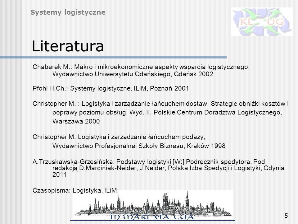 5 Literatura Chaberek M.: Makro i mikroekonomiczne aspekty wsparcia logistycznego. Wydawnictwo Uniwersytetu Gdańskiego, Gdańsk 2002 Pfohl H.Ch.: Syste