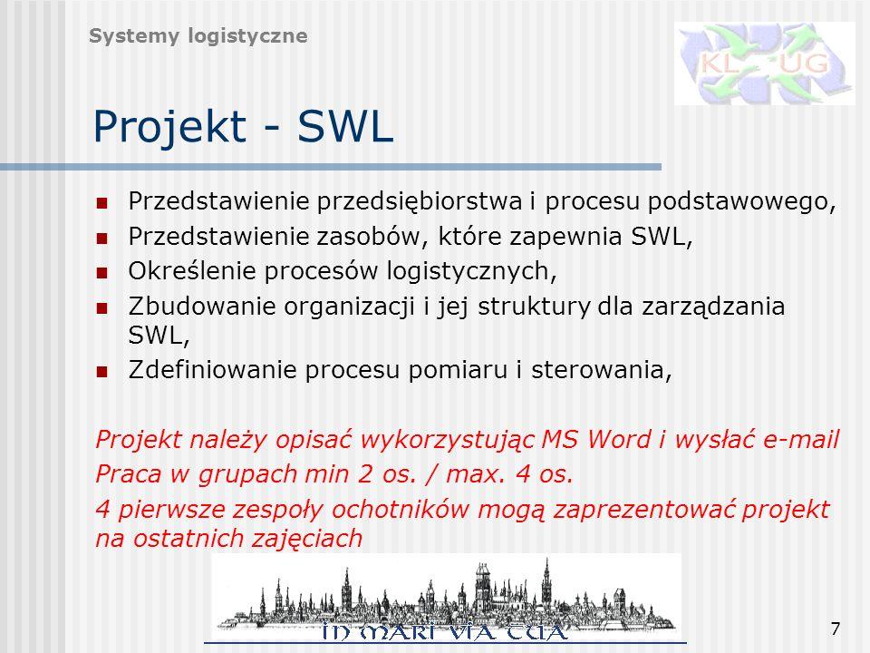 7 Projekt - SWL Przedstawienie przedsiębiorstwa i procesu podstawowego, Przedstawienie zasobów, które zapewnia SWL, Określenie procesów logistycznych,