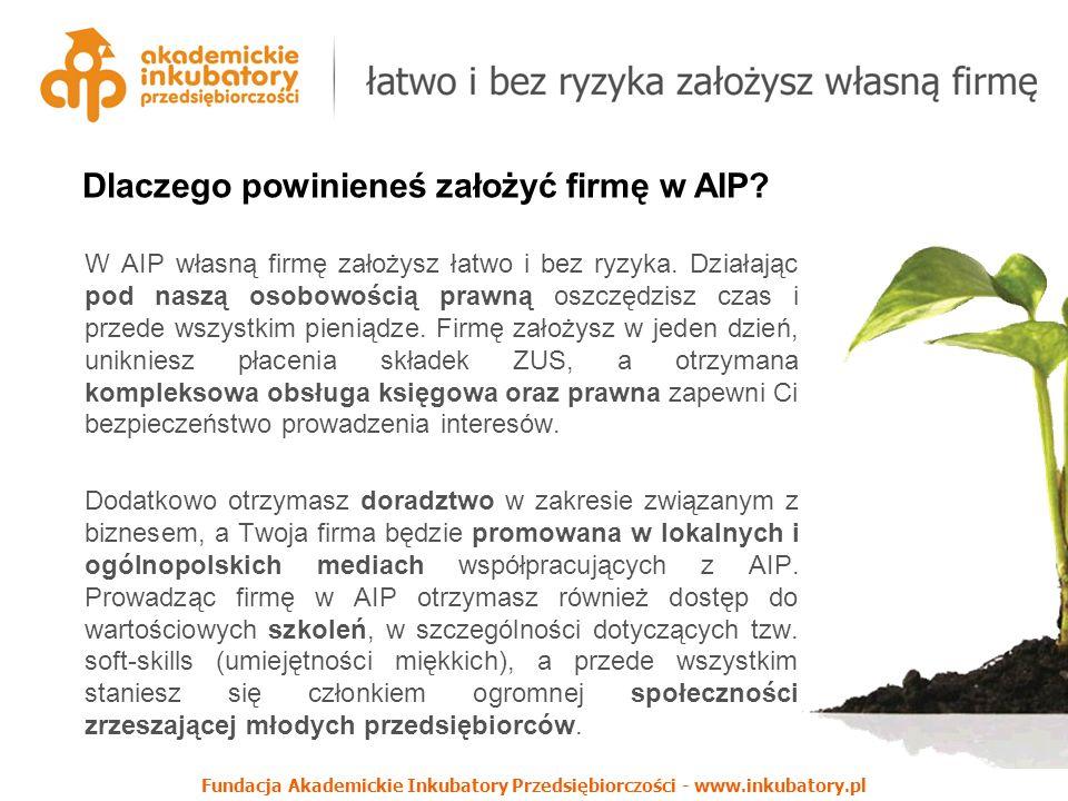 Fundacja Akademickie Inkubatory Przedsiębiorczości - www.inkubatory.pl Dlaczego powinieneś założyć firmę w AIP? W AIP własną firmę założysz łatwo i be
