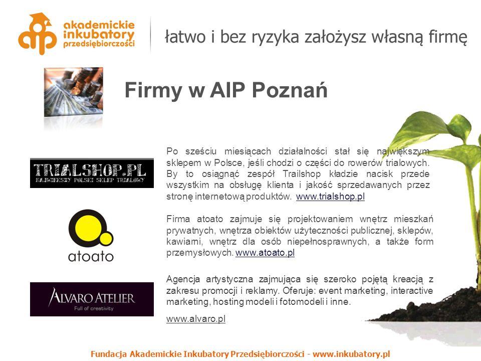 Firmy w AIP Poznań Po sześciu miesiącach działalności stał się największym sklepem w Polsce, jeśli chodzi o części do rowerów trialowych.
