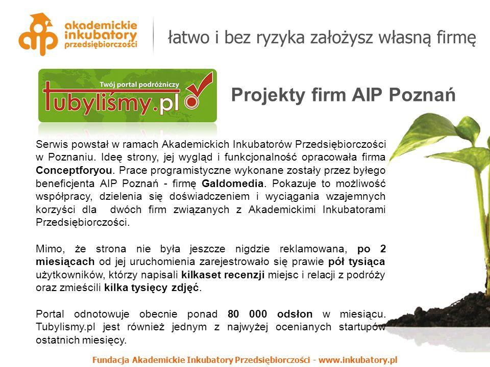 Fundacja Akademickie Inkubatory Przedsiębiorczości - www.inkubatory.pl Projekty firm AIP Poznań Serwis powstał w ramach Akademickich Inkubatorów Przedsiębiorczości w Poznaniu.