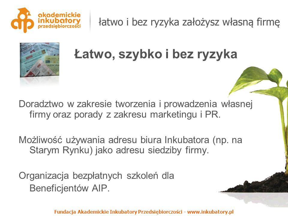 Fundacja Akademickie Inkubatory Przedsiębiorczości - www.inkubatory.pl Doradztwo w zakresie tworzenia i prowadzenia własnej firmy oraz porady z zakresu marketingu i PR.