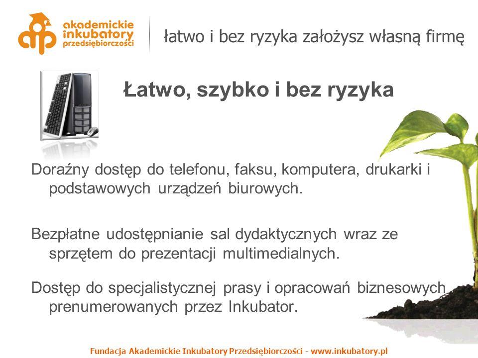 Fundacja Akademickie Inkubatory Przedsiębiorczości - www.inkubatory.pl Doraźny dostęp do telefonu, faksu, komputera, drukarki i podstawowych urządzeń biurowych.