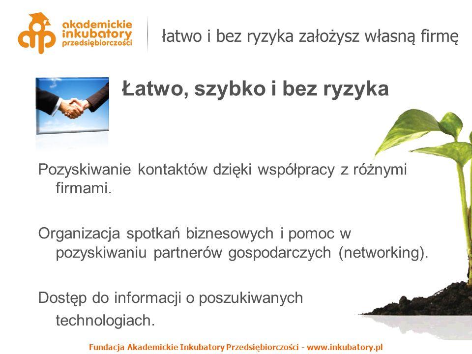 Fundacja Akademickie Inkubatory Przedsiębiorczości - www.inkubatory.pl Pozyskiwanie kontaktów dzięki współpracy z różnymi firmami. Organizacja spotkań