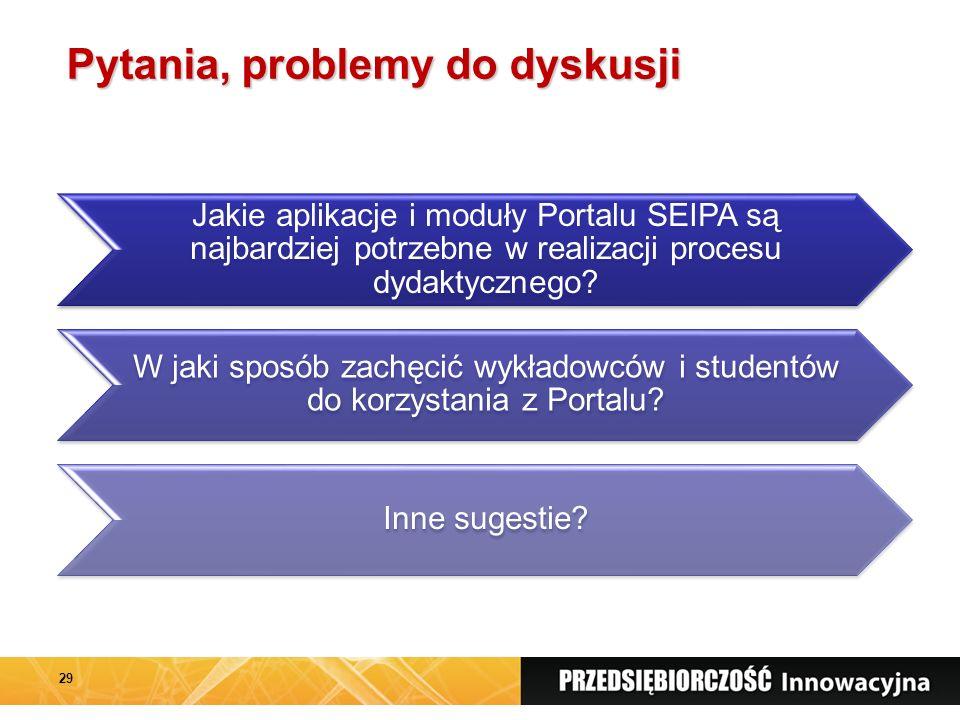 Pytania, problemy do dyskusji Jakie aplikacje i moduły Portalu SEIPA są najbardziej potrzebne w realizacji procesu dydaktycznego.