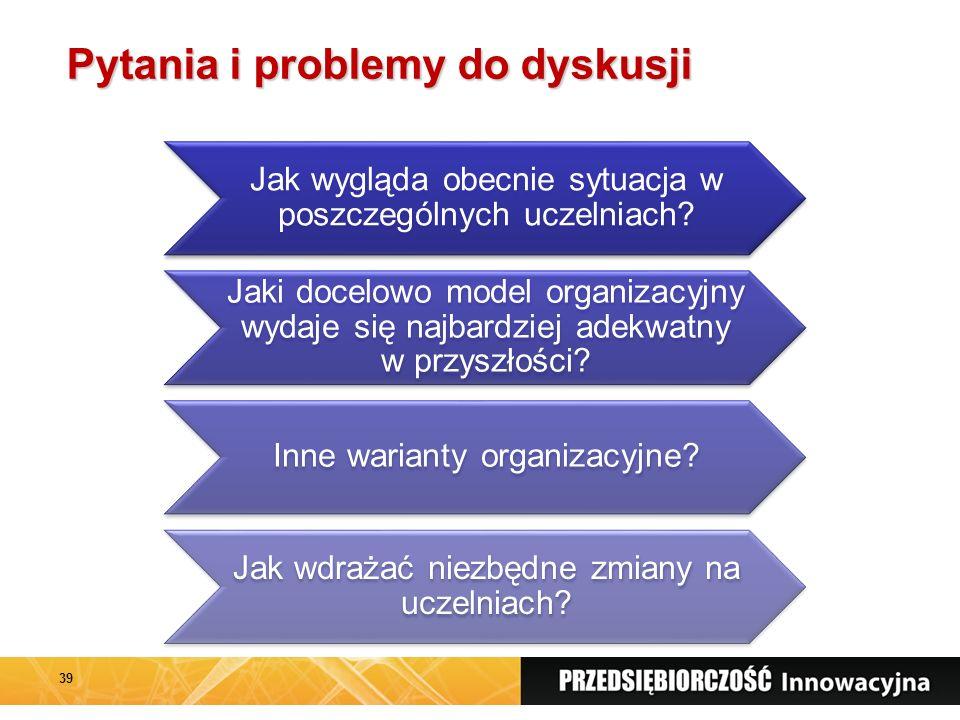 Pytania i problemy do dyskusji Jak wygląda obecnie sytuacja w poszczególnych uczelniach.