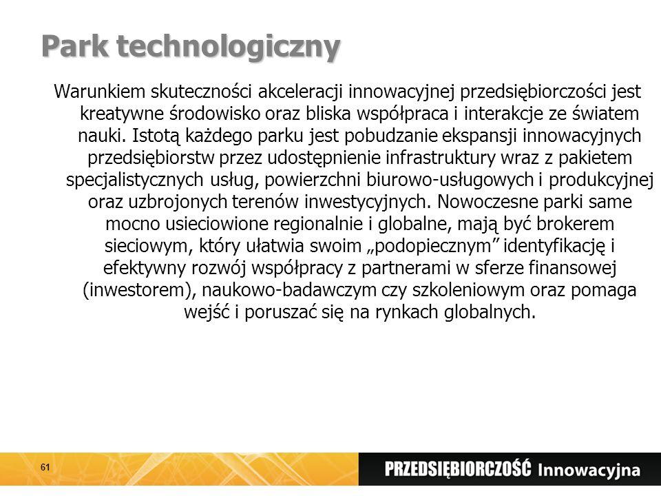 Park technologiczny Warunkiem skuteczności akceleracji innowacyjnej przedsiębiorczości jest kreatywne środowisko oraz bliska współpraca i interakcje ze światem nauki.