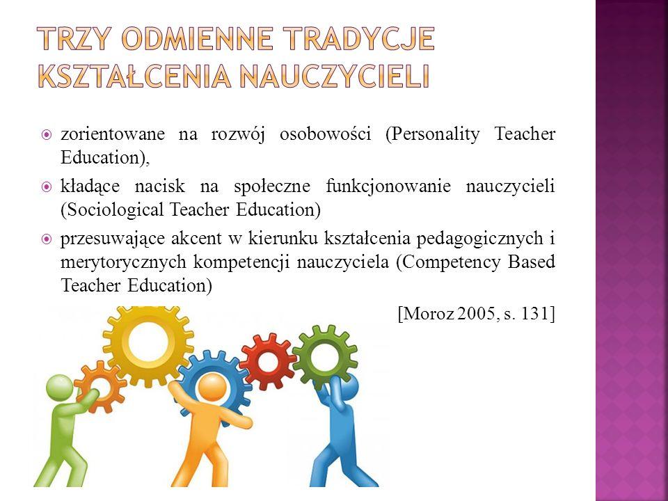  zorientowane na rozwój osobowości (Personality Teacher Education),  kładące nacisk na społeczne funkcjonowanie nauczycieli (Sociological Teacher Education)  przesuwające akcent w kierunku kształcenia pedagogicznych i merytorycznych kompetencji nauczyciela (Competency Based Teacher Education) [Moroz 2005, s.