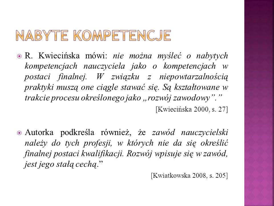  R. Kwiecińska mówi: nie można myśleć o nabytych kompetencjach nauczyciela jako o kompetencjach w postaci finalnej. W związku z niepowtarzalnością pr
