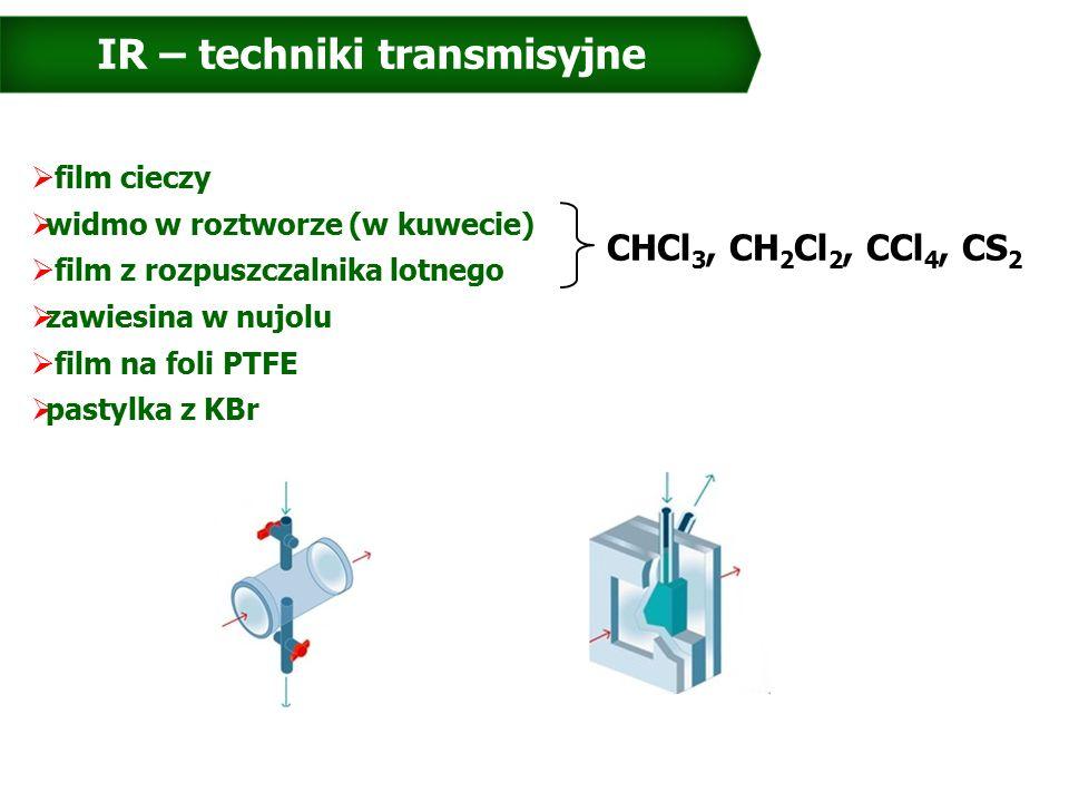 IR – techniki transmisyjne  film cieczy  widmo w roztworze (w kuwecie)  film z rozpuszczalnika lotnego  zawiesina w nujolu  film na foli PTFE  pastylka z KBr CHCl 3, CH 2 Cl 2, CCl 4, CS 2