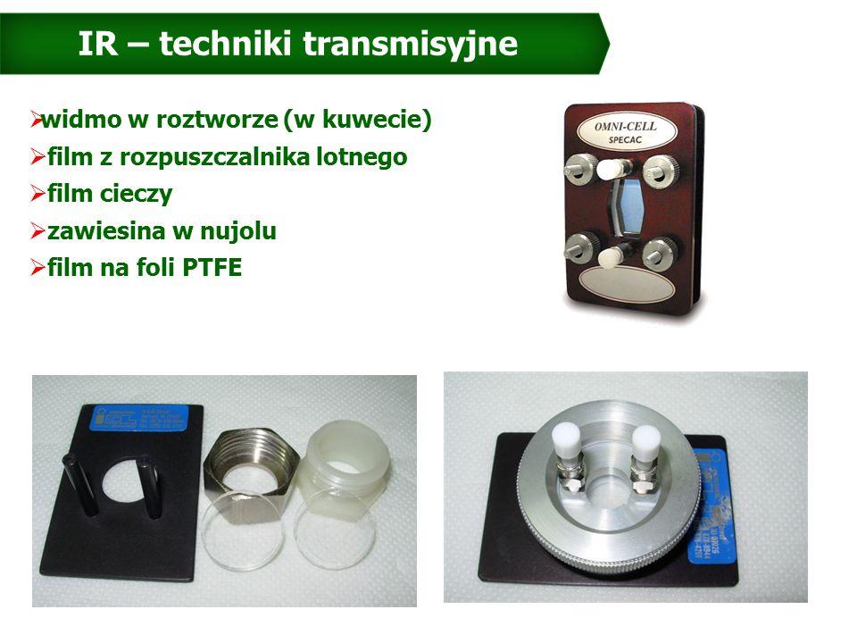 IR – techniki transmisyjne  widmo w roztworze (w kuwecie)  film z rozpuszczalnika lotnego  film cieczy  zawiesina w nujolu  film na foli PTFE
