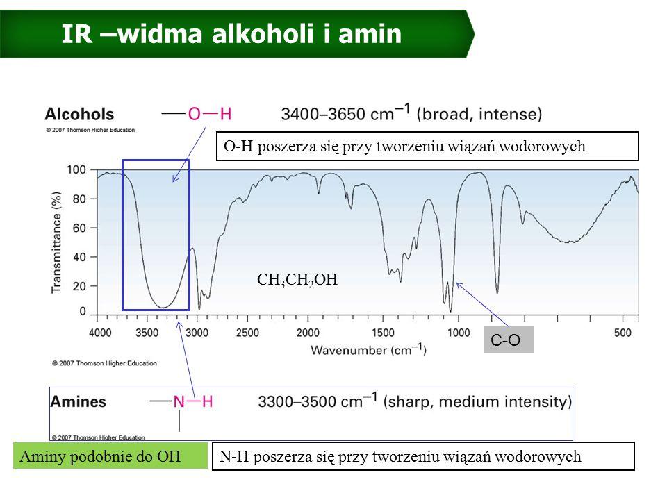 IR –widma alkoholi i amin CH 3 CH 2 OH Aminy podobnie do OH O-H poszerza się przy tworzeniu wiązań wodorowych C-O N-H poszerza się przy tworzeniu wiązań wodorowych