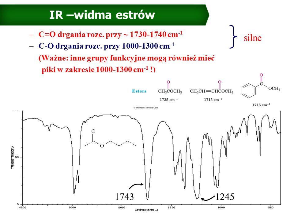 IR –widma estrów –C=O drgania rozc. przy ~ 1730-1740 cm -1 –C-O drgania rozc.