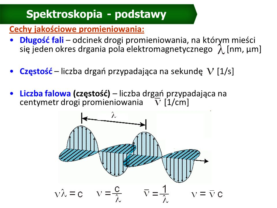Spektroskopia - podstawy Cechy jakościowe promieniowania: Długość fali – odcinek drogi promieniowania, na którym mieści się jeden okres drgania pola elektromagnetycznego [nm, μm] Częstość – liczba drgań przypadająca na sekundę [1/s] Liczba falowa (częstość) – liczba drgań przypadająca na centymetr drogi promieniowania [1/cm]