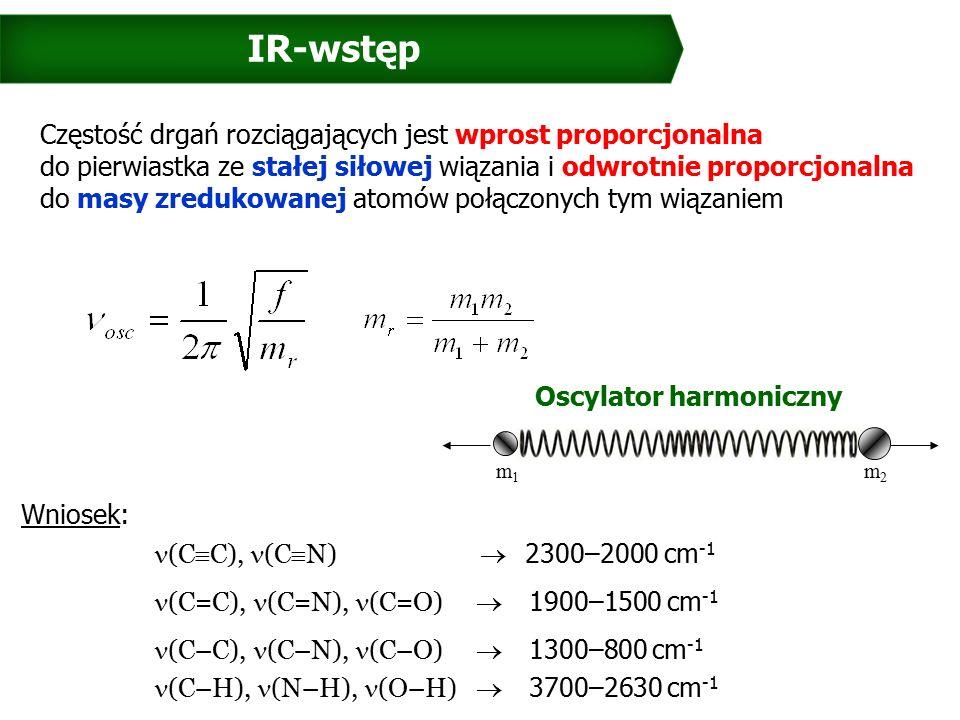 IR-wstęp Częstość drgań rozciągających jest wprost proporcjonalna do pierwiastka ze stałej siłowej wiązania i odwrotnie proporcjonalna do masy zredukowanej atomów połączonych tym wiązaniem Wniosek: (C  C), (C  N)  2300–2000 cm -1 (C=C), (C=N), (C=O)  1900–1500 cm -1 (C–C), (C–N), (C–O)  1300–800 cm -1 (C–H), (N–H), (O–H)  3700–2630 cm -1 m1m1 m2m2 Oscylator harmoniczny