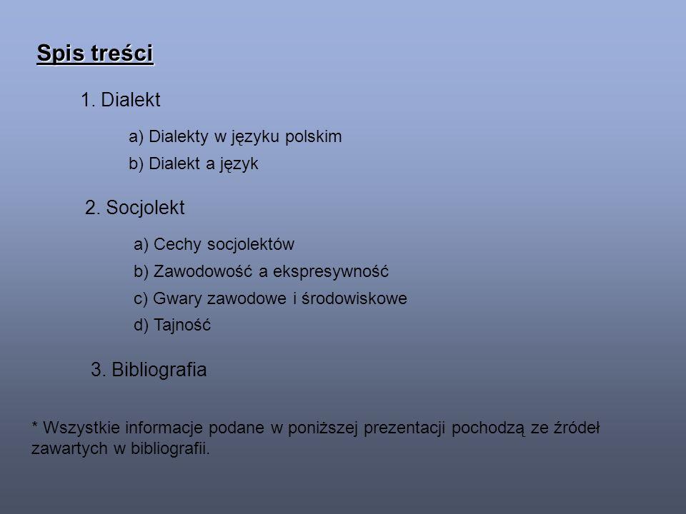 Spis treści 1. Dialekt a) Dialekty w języku polskim b) Dialekt a język 2.