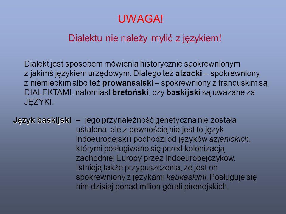 UWAGA. Dialektu nie należy mylić z językiem.