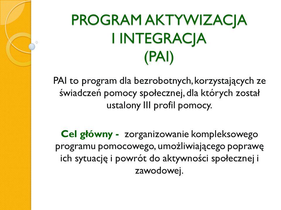 PROGRAM AKTYWIZACJA I INTEGRACJA (PAI) PAI to program dla bezrobotnych, korzystających ze świadczeń pomocy społecznej, dla których został ustalony III profil pomocy.