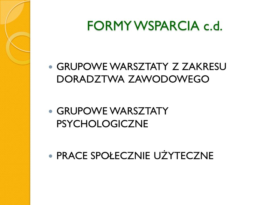 FORMY WSPARCIA c.d.