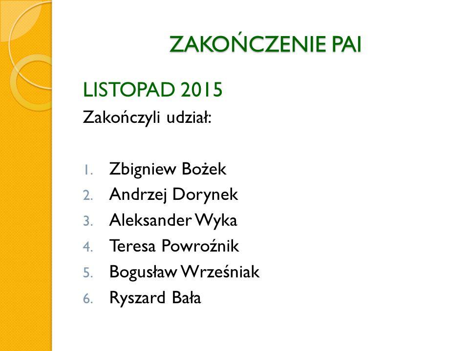 ZAKOŃCZENIE PAI LISTOPAD 2015 Zakończyli udział: 1.