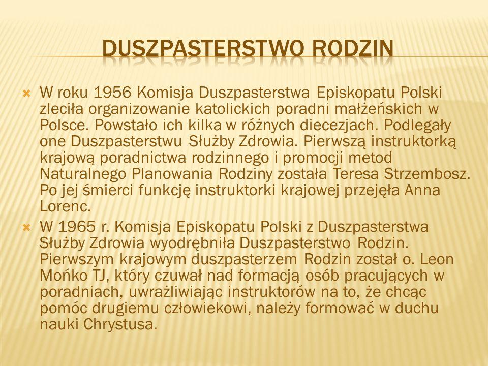  W roku 1956 Komisja Duszpasterstwa Episkopatu Polski zleciła organizowanie katolickich poradni małżeńskich w Polsce. Powstało ich kilka w różnych di